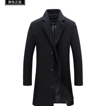 Custom made New Fashion Brand Men's Clothing Jacket Wool Coat Men Single Breasted Turn Down Collar Slim Fit Peacoat Long Winter