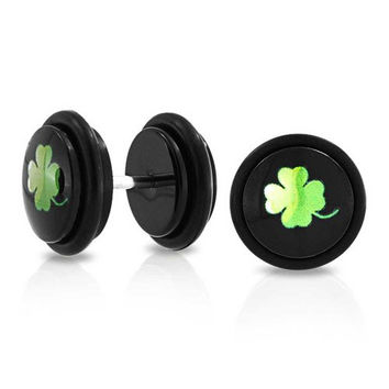 Bling Jewelry 14 Gauge Fake Cheater Clover Plugs Earrings Black Epoxy Dome Stainless Steel