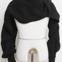 Black Knitted Scarf with Sleeves