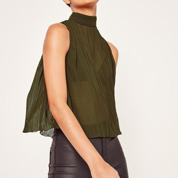 Missguided - Pleated High Neck Top Khaki