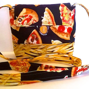 Handmade Cotton Handbag - Pizza and Fries Pattern Crossbody Purse - Quilted Purse - Festival Bag - Late Night Munchies - Pizza Party