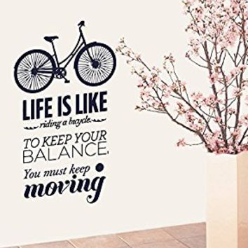 Wall Decal Vinyl Sticker Decals Art Decor Design Life is like Bicycle Quote Words Bike Sign Houseware Kids Nursery Bedroom Fashion (r685)