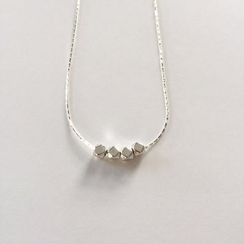 Silver Small Geometric Bead Necklace