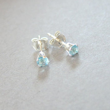 Tiny Sterling Silver 3mm Aqua Blue CZ Stud Earrings, Cartilage Earring,