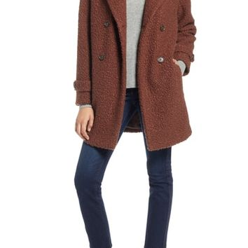 Halogen® Double Breasted Bouclé Coat (Regular & Petite) | Nordstrom