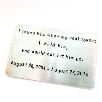 Wallet Insert Card | Men Birthday Gift | Husbands Birthday | Engagement Gift | 10 Year Anniversary Gift | Boyfriends Gift | Anniversary Gift