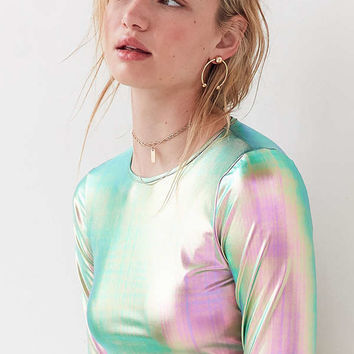 Silence + Noise Long Sleeve Holographic Top | Urban Outfitters