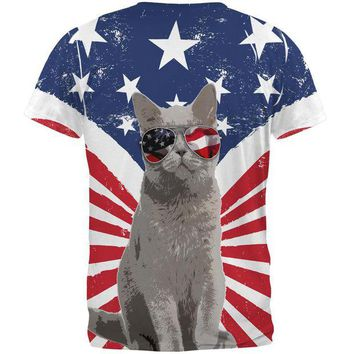DCCKJY1 4th Of July Meowica America Patriot Cat All Over Mens T Shirt