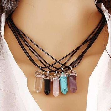 Multicolor Quartz Natural Stone Healing Pendant Necklace-Crystal Trend is in!