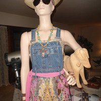 Upcycled Blue Jean Denim Jumper Dress Boho Upcycle Dress Denim bib Dress Redesigned bib overalls Pink The Land of Bridget