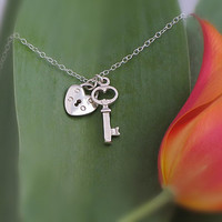 Sterling Silver Key and Lock charms necklace