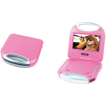"""Sylvania 7"""" Portable Dvd Player With Integrated Handle (pink)"""