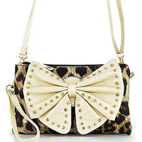 Leopard Print Studded Bow Cross Body Messenger Bag Purse (Natural)