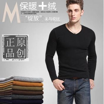Free shipping Winter men's clothing tidal current male slim V-neck plus velvet thickening black long-sleeve Add wool warm