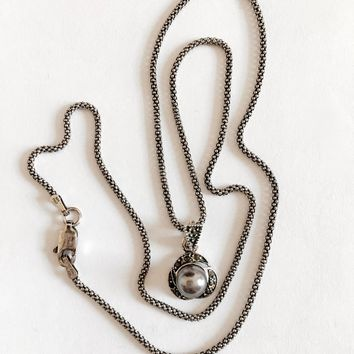 "Elegant Gray Pearl and Marcasite Pendant on 18"" Italian Sterling Silver Popcorn Chain, Silver Sparkle"