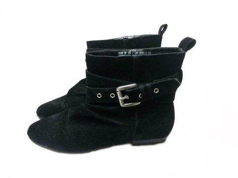 Black Suede Buckle Ankle Boots from Rudeboy Clothing