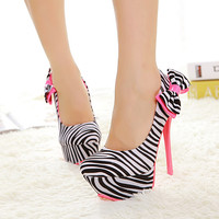 Sexy Princess Zebra Pattern Women's High-heel Prom Shoes 10723660 - Prom Shoes - Dresswe.Com