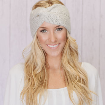 Knitted Twist Headband In Gray