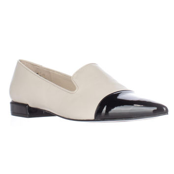 Nine West Trainer Pointed Toe Loafer Flats - Off-White/Black