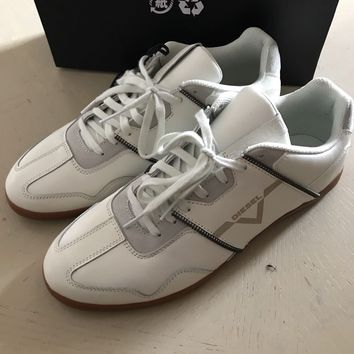 New $275 Diesel Leather Sneakers Shoes White Size 10 US ( 43 Eu )