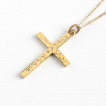 Vintage Yellow Gold Filled Cross Pendant Necklace - Retro 1960s Engraved Flower Design Symbolic Religous Jewelry Charm on 14K GF Chain