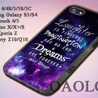 Case for iPone 4/4S/5/5S/5C, Samsung Galaxy S3/S4, iPod Touch 4/5 design Walt Disney quote nebula