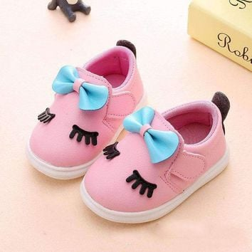 0-2 Year Old 11--15CM Baby Shoes Baby Girls Fashion Butterfly-Knot Toddler Shoes Newborn PU Cork Casual Infant Shoes Light Sole