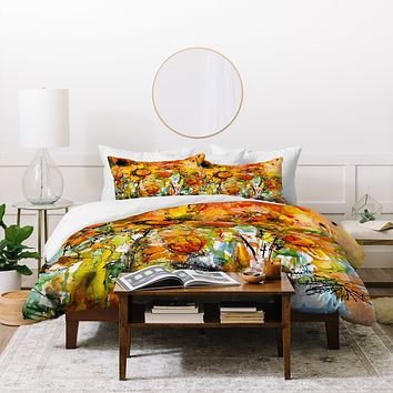 Ginette Fine Art Abstract Sunflowers Duvet Cover