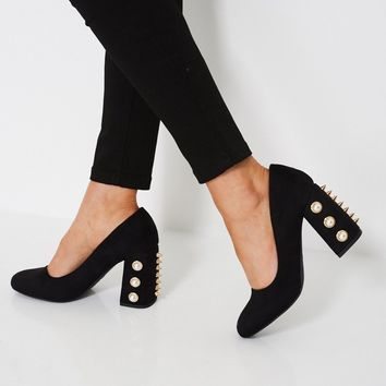 Pearls And Studs Block Heeled Shoes