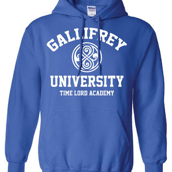 Gallifrey University Alumni Doctor Who Police public call box Tardis hoodie hooded sweatshirt Mens Ladies Womens Youth Kids Funny DT-188