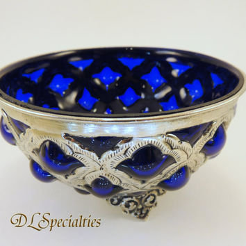Cobalt Blue Blown Glass Forged Silver Antique Dish