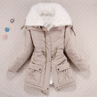 Khaki Fur Collar Long Sleeve Drawstring Fleece Lined Coat