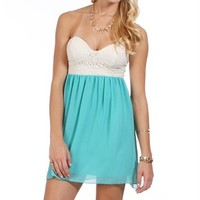 White/Mint Sweetheart Lace Chiffon Tunic