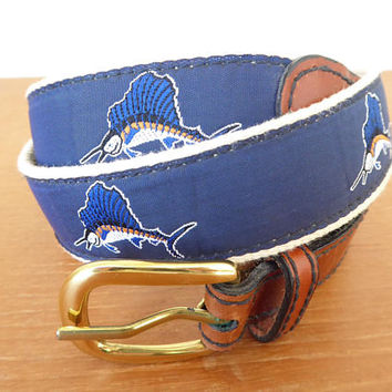 Men's navy blue sailfish embroidered belt with solid brass buckle