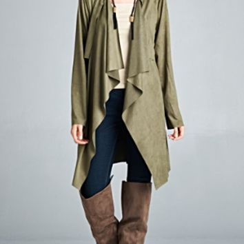 Ladies Suede Waterfall Trench Coat