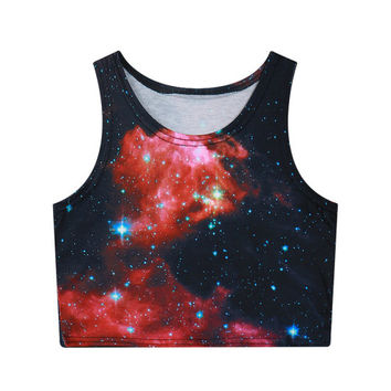 Red Galaxy Crop Top
