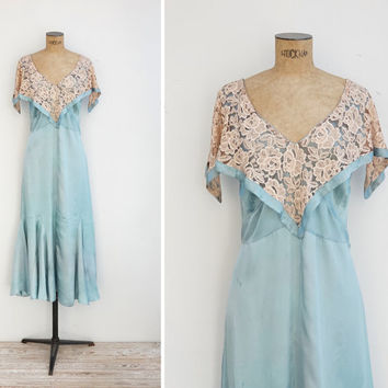 1930s Dress - Vintage 30s Mint Satin Lace Capelet Slip Dress - Camila Dres