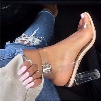 Jelly Sandals Open Toe High Heels Women Transparent Perspex Shoes
