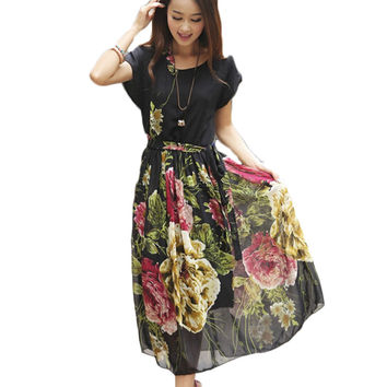 New Summer Women Fashion Long Casual Bohemia Chiffon Beach Dress Floral Print Sashes Party Dresses Plus Size Vestidos AH290