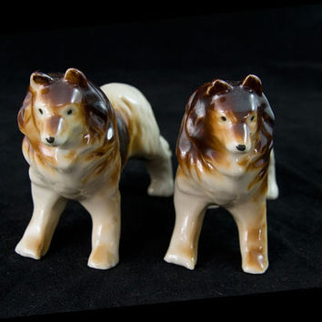 Pair of Collie Figurine Dog Figurine Mid Century Japan Collectible