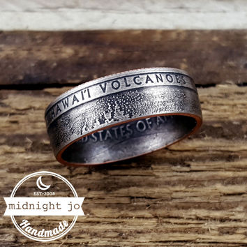 Hawaii Volcanoes National Park Quarter Coin Ring