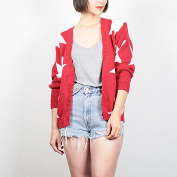 Vintage Red White STAR Print Sweater V Neck Cardigan 1980s Chunky Knit Jumper 80s Color Block New Wave Cosby Sweater Americana M L Large