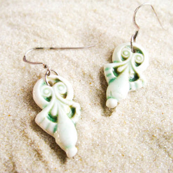 porcelain drop earrings in white & green - dangling earrings