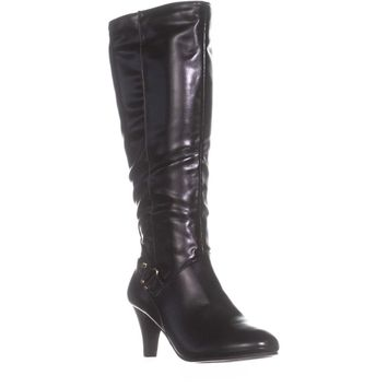 KS35 Harloww Wide Calf Knee-High Boots, Black, 7 US