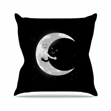 "Digital Carbine ""Moon Hug"" Black White Outdoor Throw Pillow"