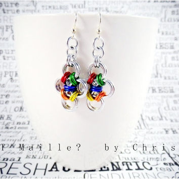 Earrings - Japanese Lace Cross - Rainbow - Pride