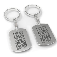 Matching Dog Tag Keychain Set - Short Girl and Tall Girl Best Friend Set