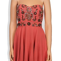 Coral Embellished Strapless Sweetheart Dress