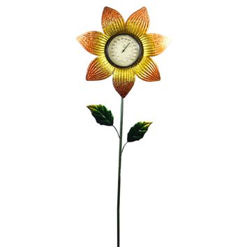 Home & Garden THERMOMETER STAKE ORANGE FLOWER Metal Garden Accent 11815