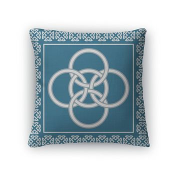 Throw Pillow, Celtic Five Fold Knot Symbolizes Integration Of Four Elements